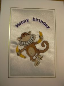 HAPPY BIRTHDAY - Monkey with 2 Bananas
